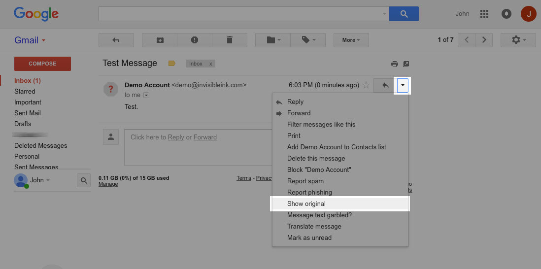 View message headers in Gmail