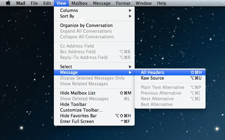 Mac Mail Message Headers